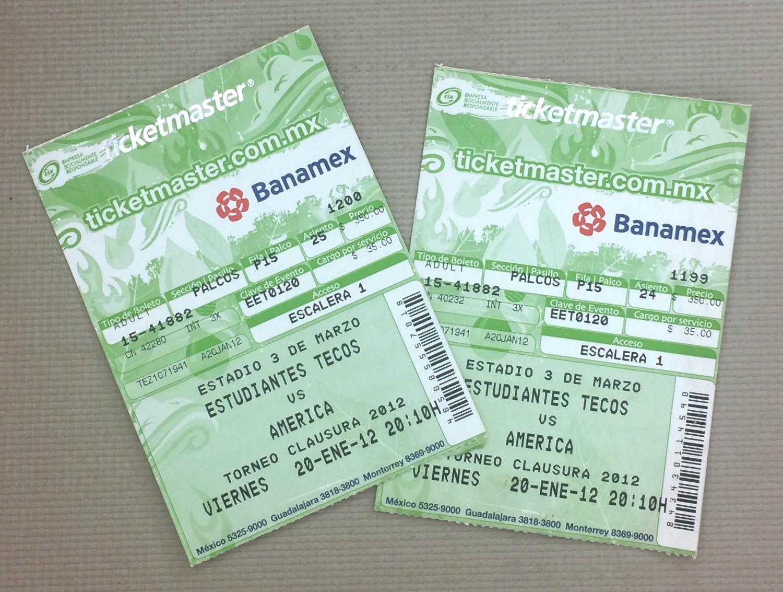 Club America at Tecos Ticket Stubs