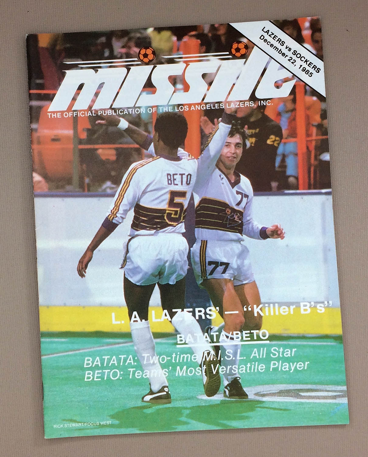 Lazers Sockers 1985 MISL Program`