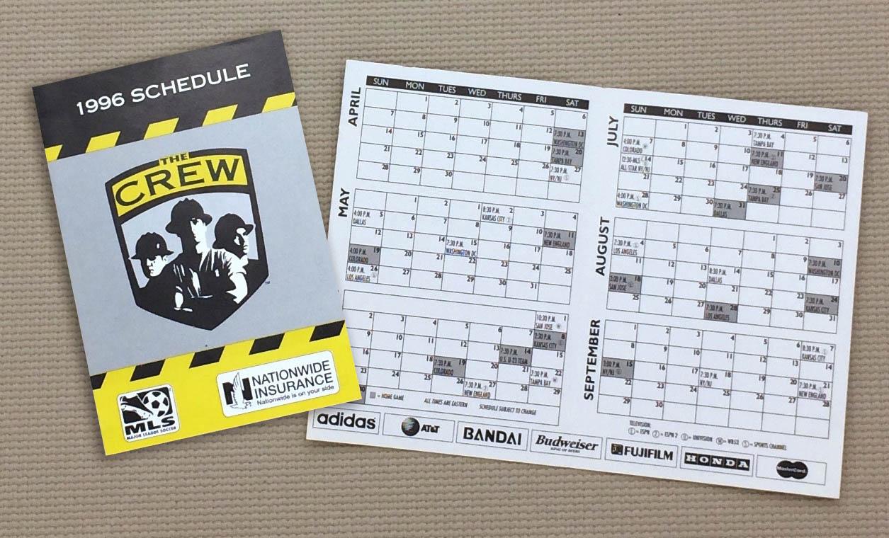 Columbus Crew 1996 Inaugural Schedule