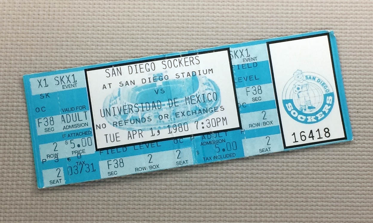 San Diego Sockers vs Pumas 1980 Ticket