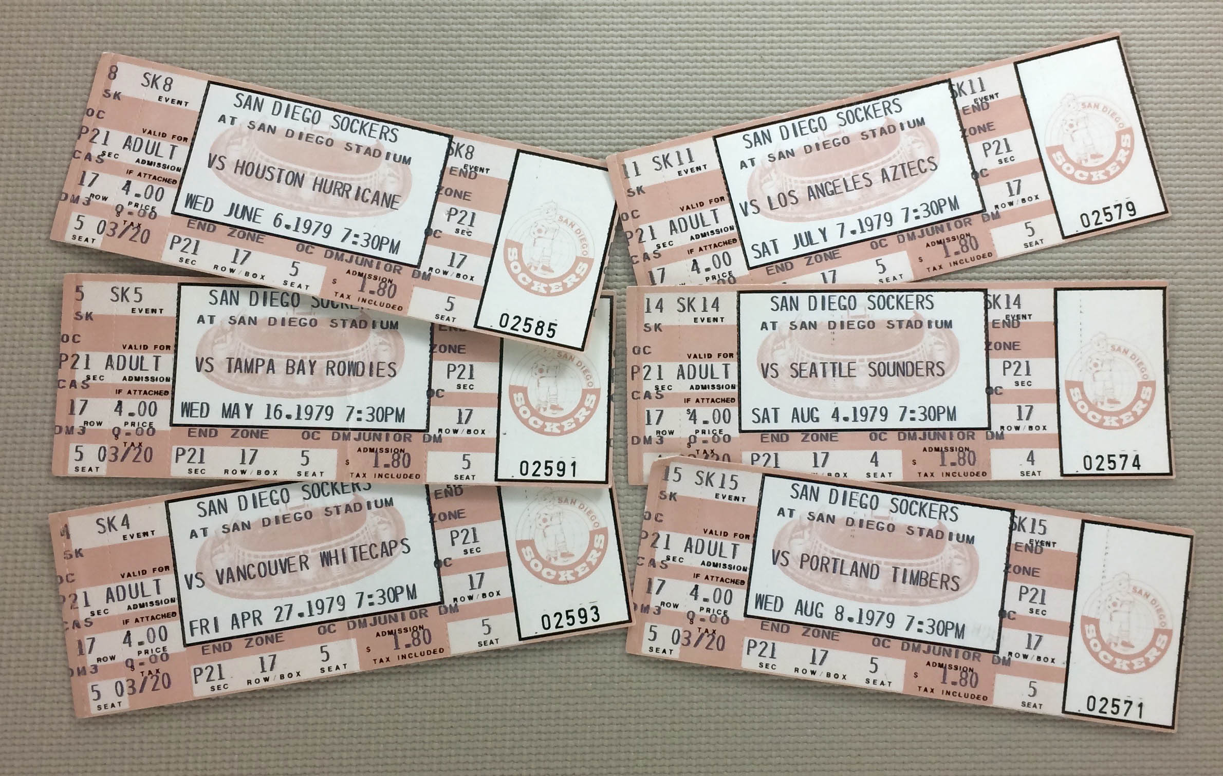 San Diego Sockers 1979 Tickets