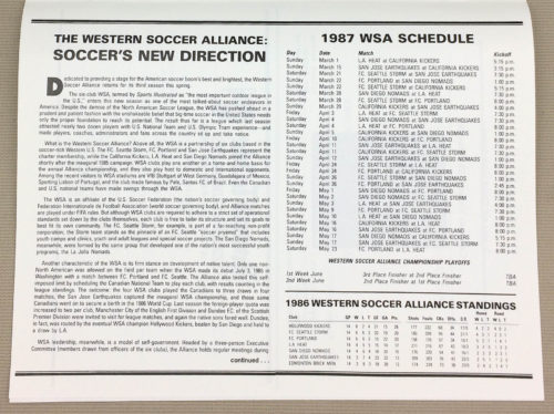 Western Soccer Alliance New Direction 1987