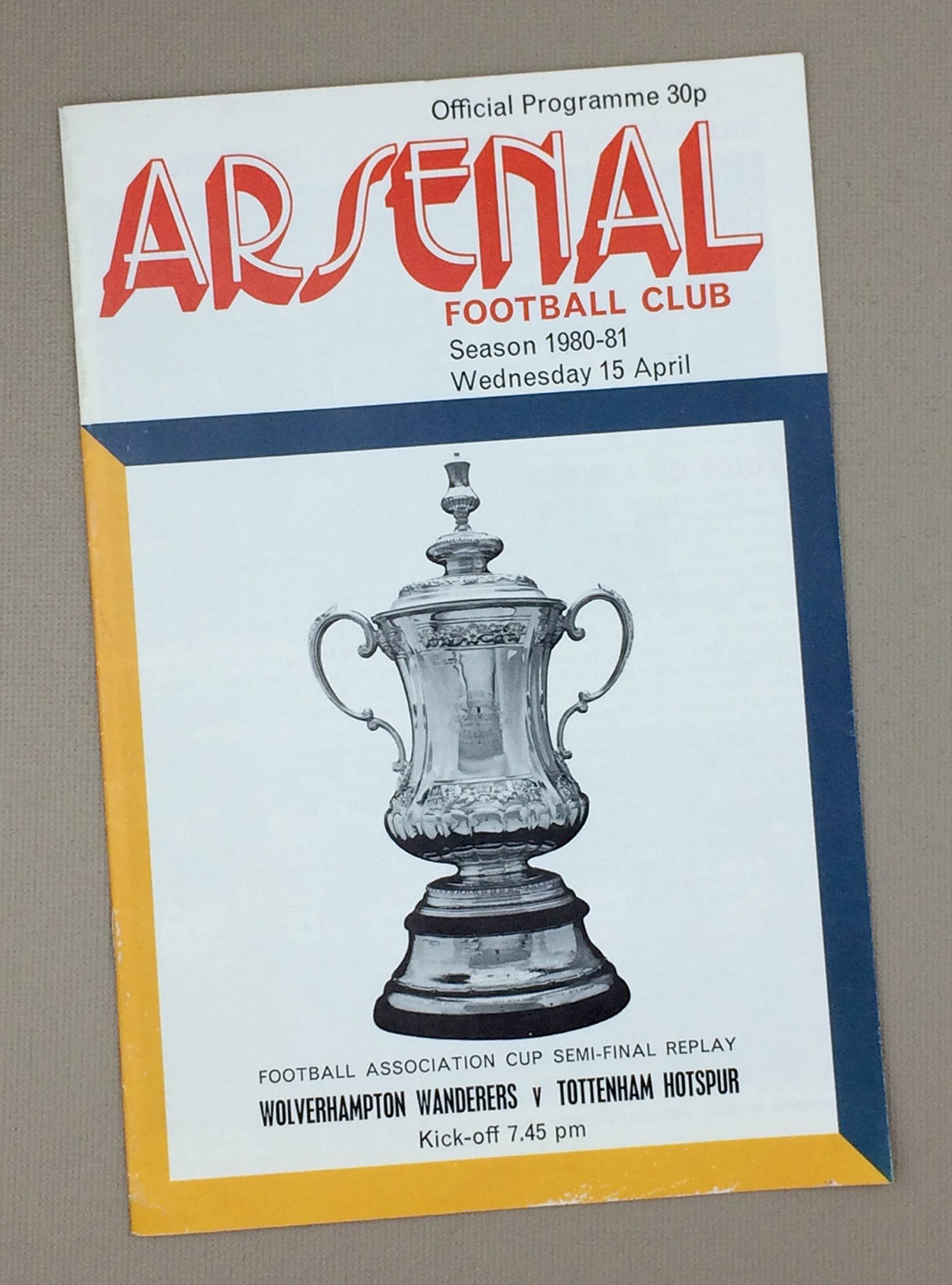 1981 FA Cup Semi-final Replay Program