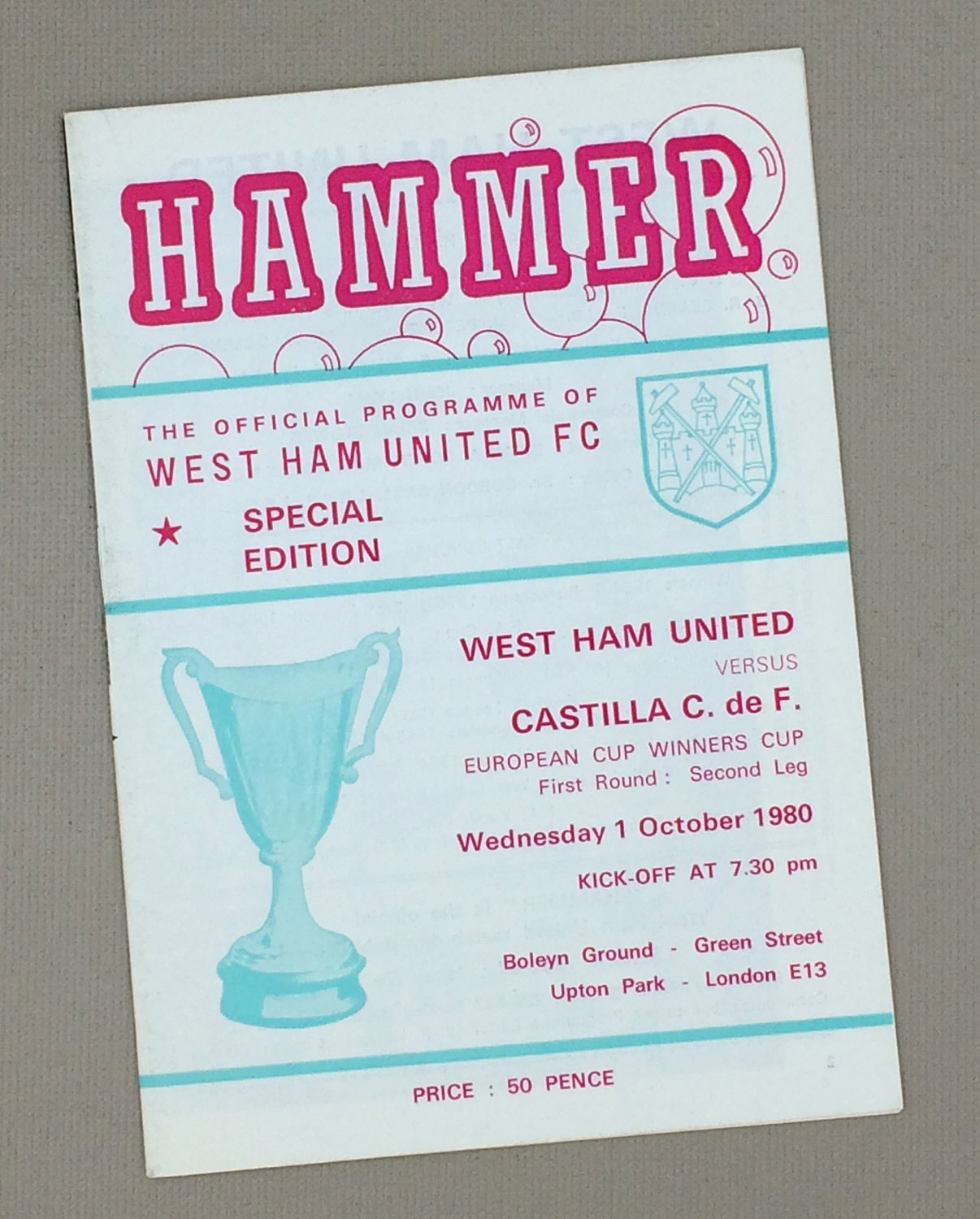 West Ham United vs Castilla C. de F. 1980 Program
