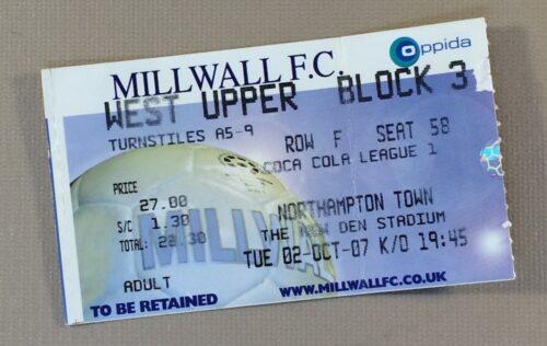 October 2nd, 2007 Millwall FC vs Northampton Town Ticket Stub