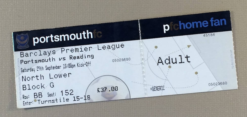 September 29th, 2007 Portsmouth vs Reading Ticket Stub