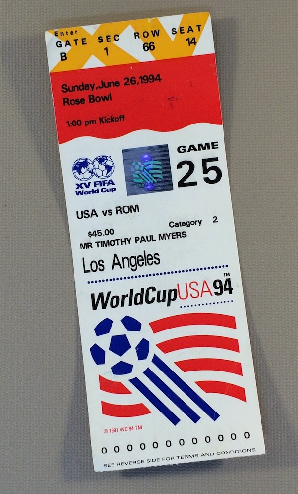 World Cup '94 USA vs Romania Ticket