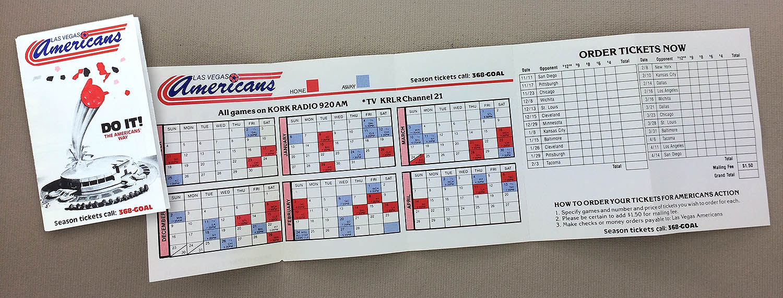 Las Vegas Americans 1985 Schedule