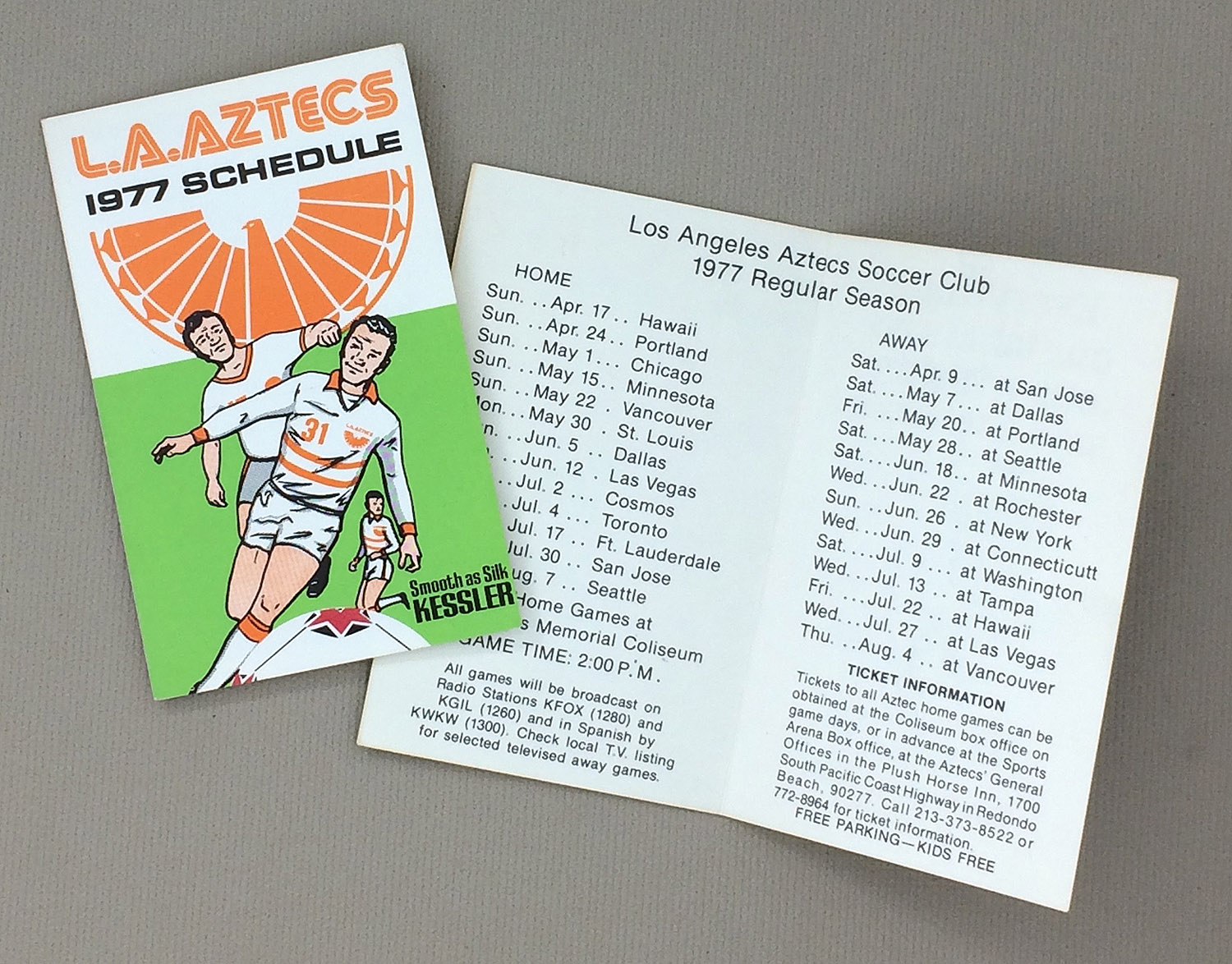Los Angeles Aztecs 1977 Schedule