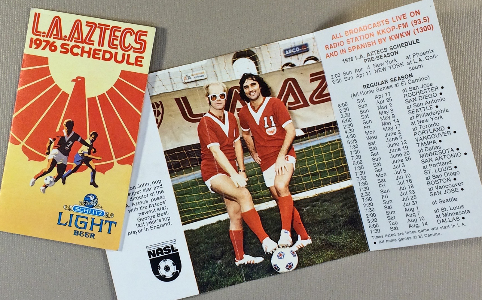 Los Angeles Aztecs 1976 Team Schedule