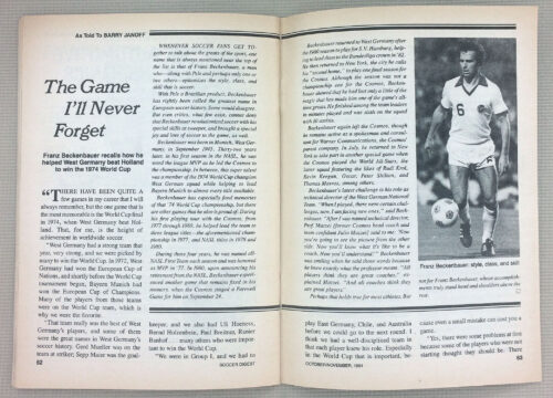 Franz Beckenbauer The Game I'll Never Forget