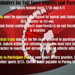 Attention Fall Athletes and Parents: Important To Do's