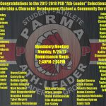 "Congrats to the 2017-18 Parma Redmen ""Ath-Leader"" Selections"