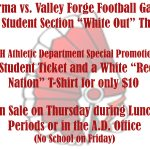 "Football ""White-Out"" Special: Get a Student Ticket and a T-Shirt for Ten Bucks!"