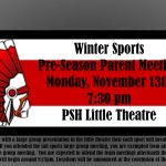 Winter Sports Parent Meeting tonight at 7:30pm in Little Theatre