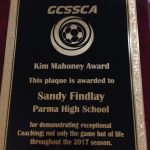 Redmen Girls Soccer Coach Sandy Findley  awarded the Kim Mahoney Award by GCSSCA