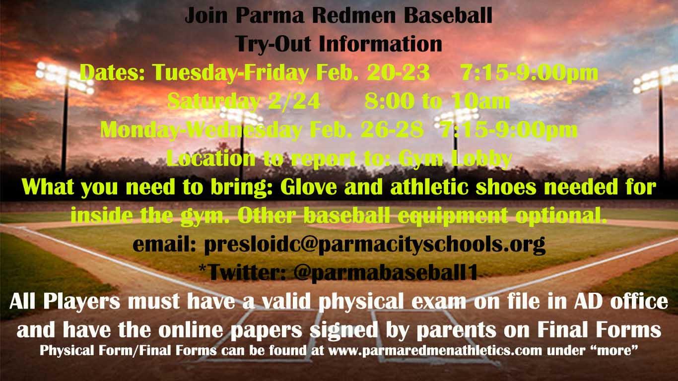 Join the Parma High School Baseball Team