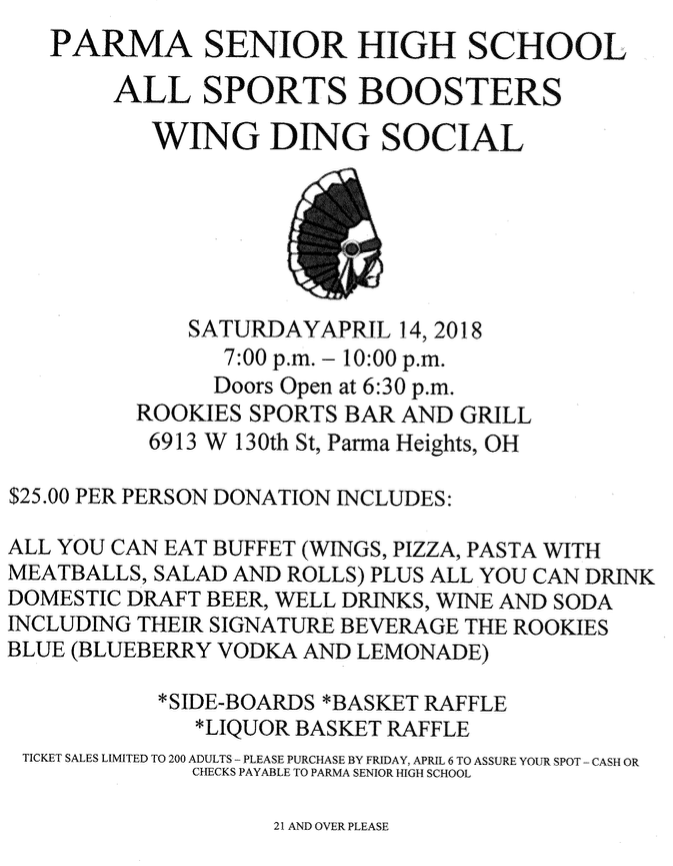 Please Support the Boosters that Supports All of our Athletes! Wing Night on 4/14