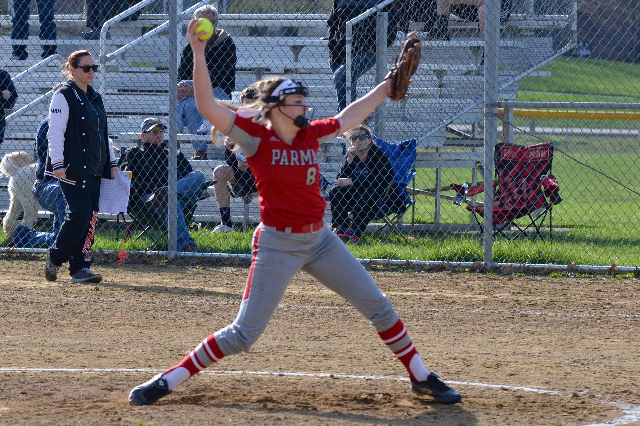 Jackson pitches the Redmen to a 21-5 victory over Rocky River; Deutsch and Derosett Lead the Hit Parade