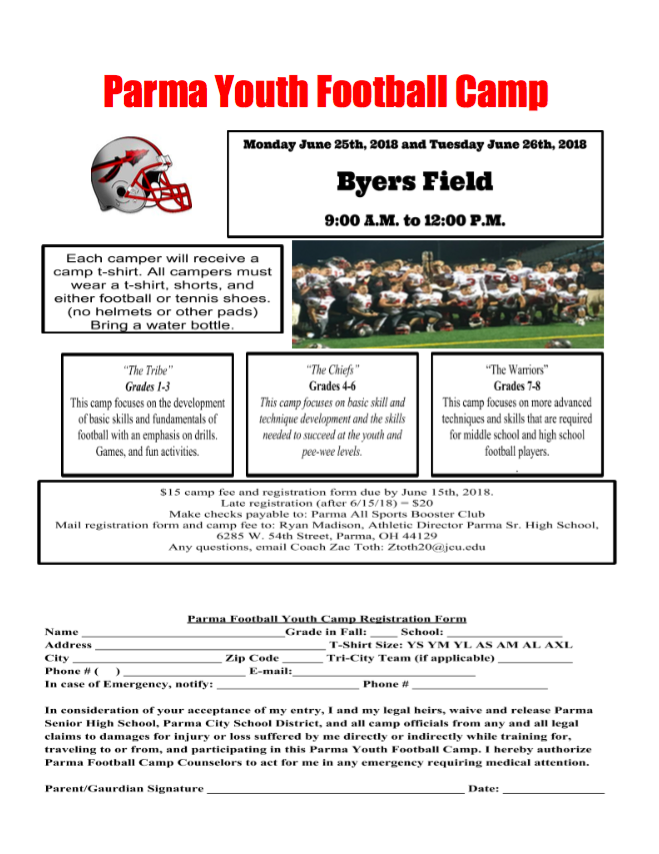 Parma Youth Football Camp at Byers Field on June 25 and 26th
