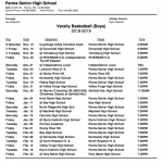 Boys Basketball: 2018-19 Game Schedules