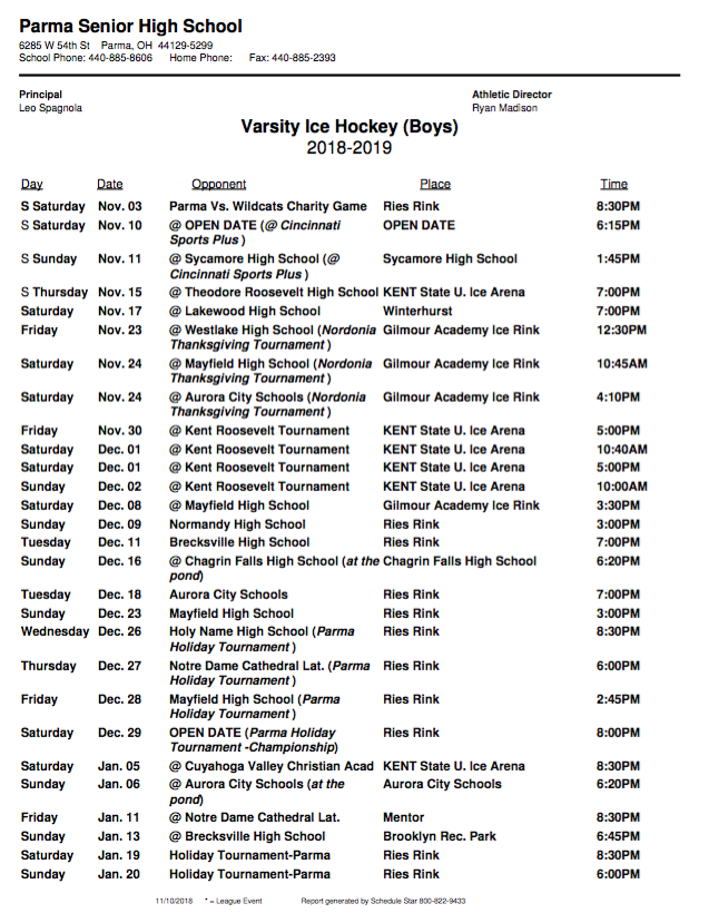 Ice Hockey: 2018-19 Game Schedule