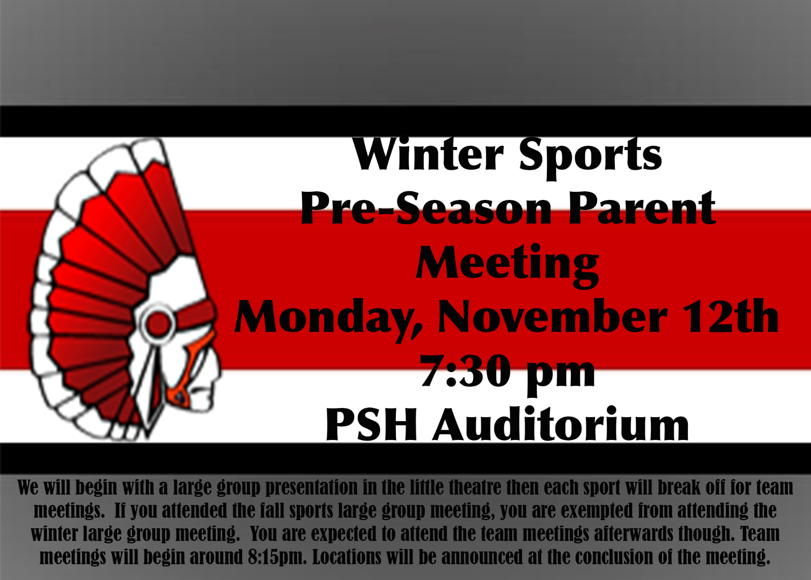 OHSAA Winter Sports Pre-Season Parent Meeting is on 11/12 at 7:30pm in Auditorium