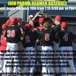 Join Parma Redmen Baseball!  Info for 9th-12th graders interested in joining the team