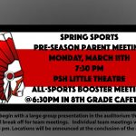 Location Change for Monday 3/11 Spring Sports Parent Meeting.  Now in Little Theatre