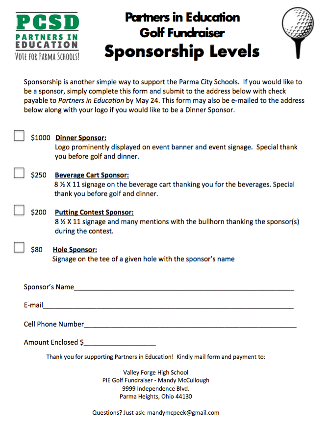 PCSD Partners in Education Golf Fundraiser Looking for Sponsors