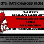 Fall Sports Pre-Season Parent Meeting Moved to 8/19 at 7pm