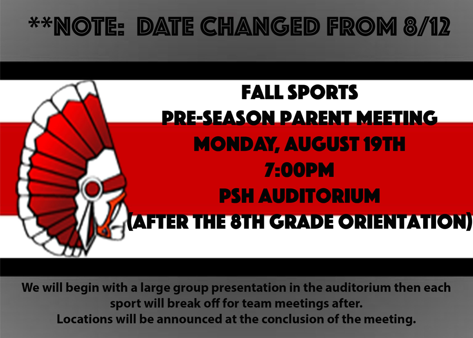 Fall Sports Parent Meeting is Monday 8/19 at 7pm after 8th grade Orientation
