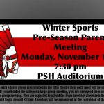Winter Sports Pre-Season Parent Meeting on Monday 11/11 at 7:30pm