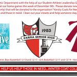 Give the Gift of Warmth this Holiday: PSH Athletics Winter Coat Drive is this Week at all Home Games-Clean out your Closets!