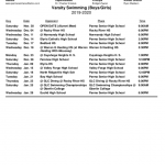 Redmen Swimming & Diving 2019-20 Schedule