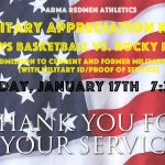 Military Appreciation Night at Parma Boys Basketball Game on 1/17/20
