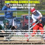 Get in the Game…Join Redmen Softball!  Try-Outs Start Thursday