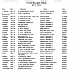 2020 Redmen JV and Varsity Baseball Schedules (Subject to Change)