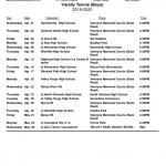 2020 Redmen Varsity Boys Tennis Schedule (Subject to Change)
