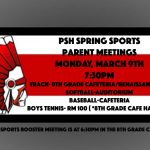 Spring Sports Parent Meetings are Monday March 9th at 7:30pm