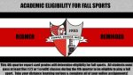 Redmen Reminder: Eligibility for Fall Sports is Based off of 4th Quarter Report Card