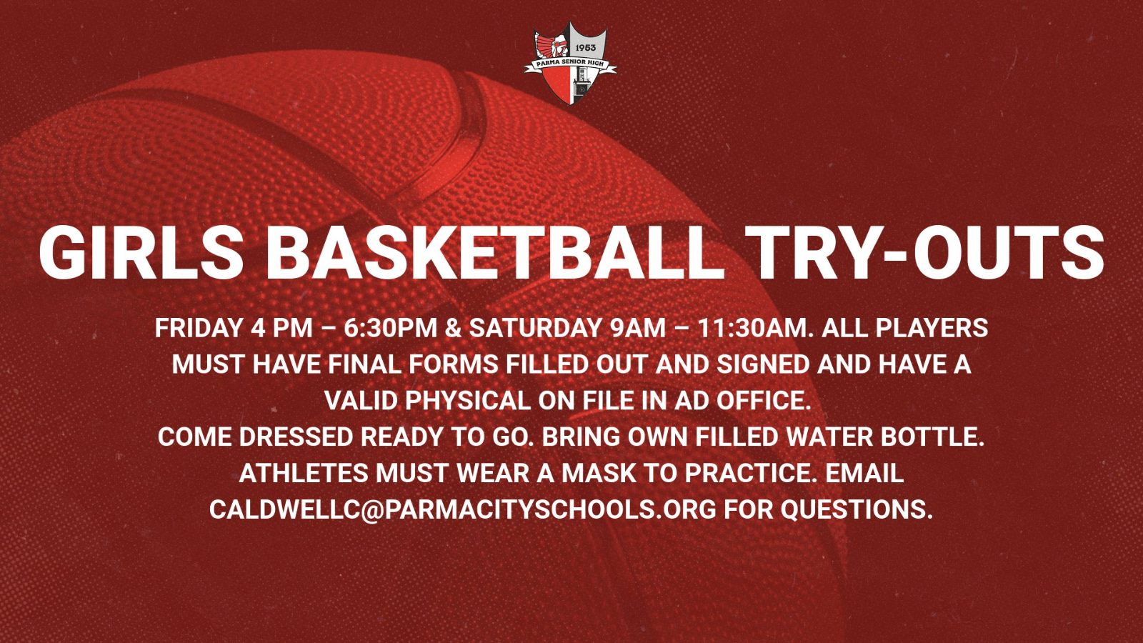 Girls Basketball Tryouts Begin Friday. Get in the Game!