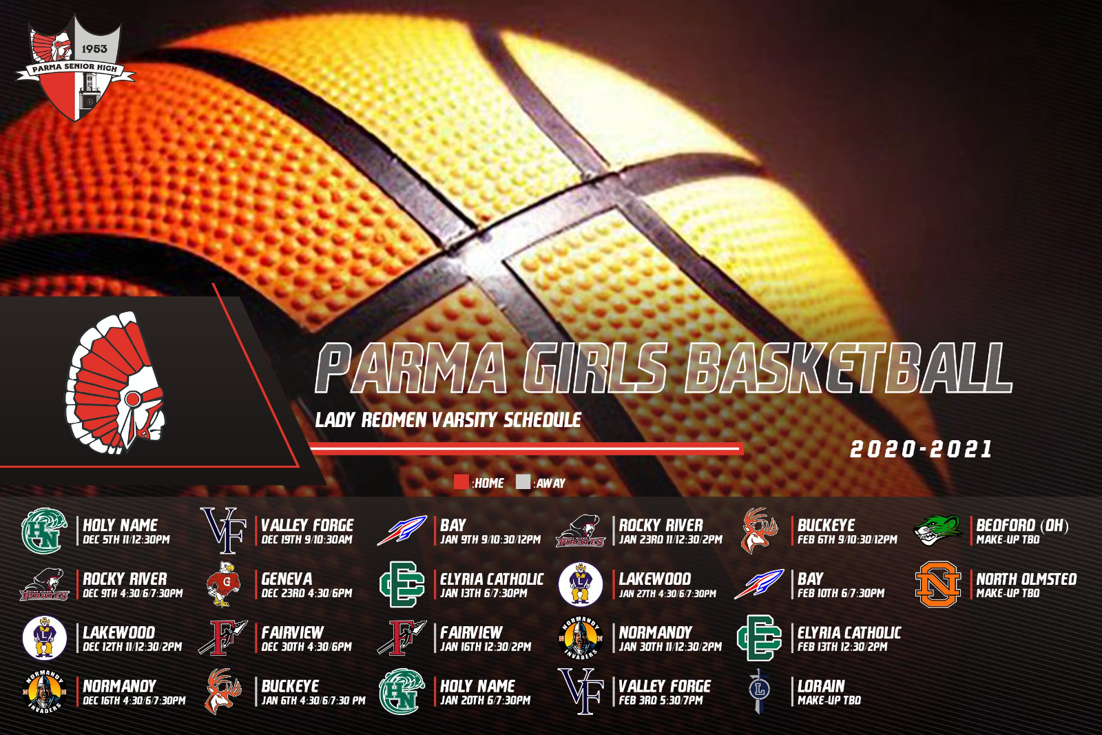 2020-21 Parma Girls Basketball Game Schedule