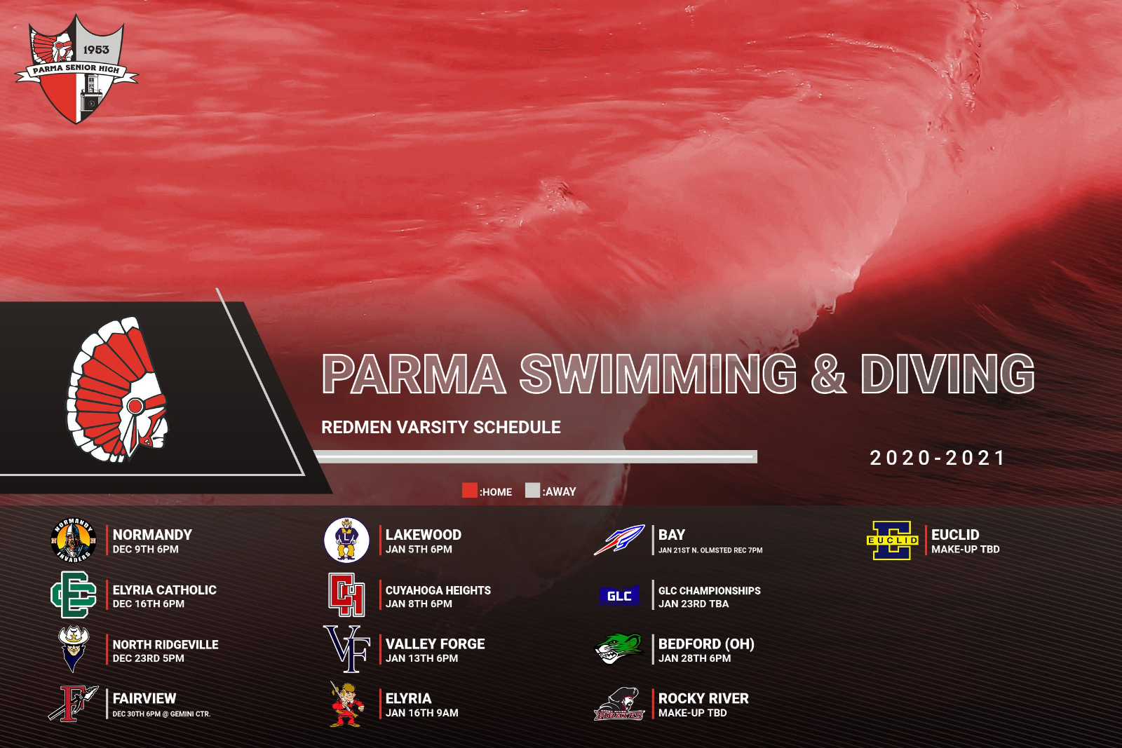 2020-21 Parma Swimming & Diving Meet Schedule