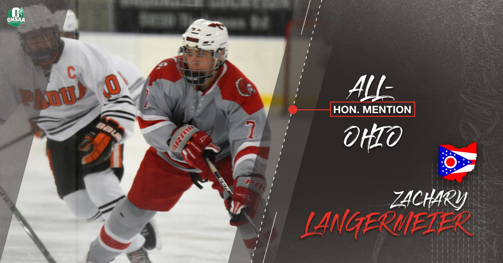 Congratulations to Parma Hockey's Zach Langermeier for Being Named Honorable Mention All-Ohio