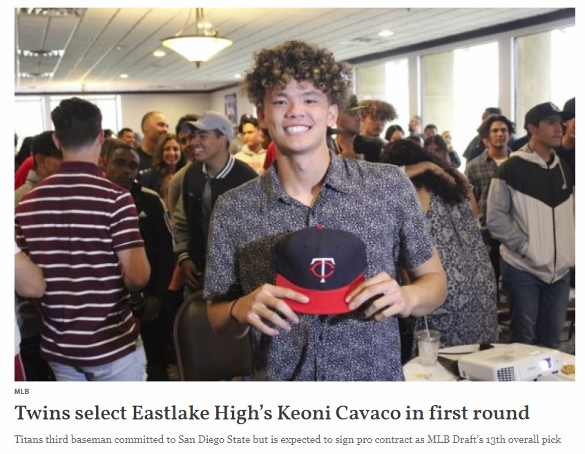 MLB Draft: Twins select Eastlake High's Keoni Cavaco in first round