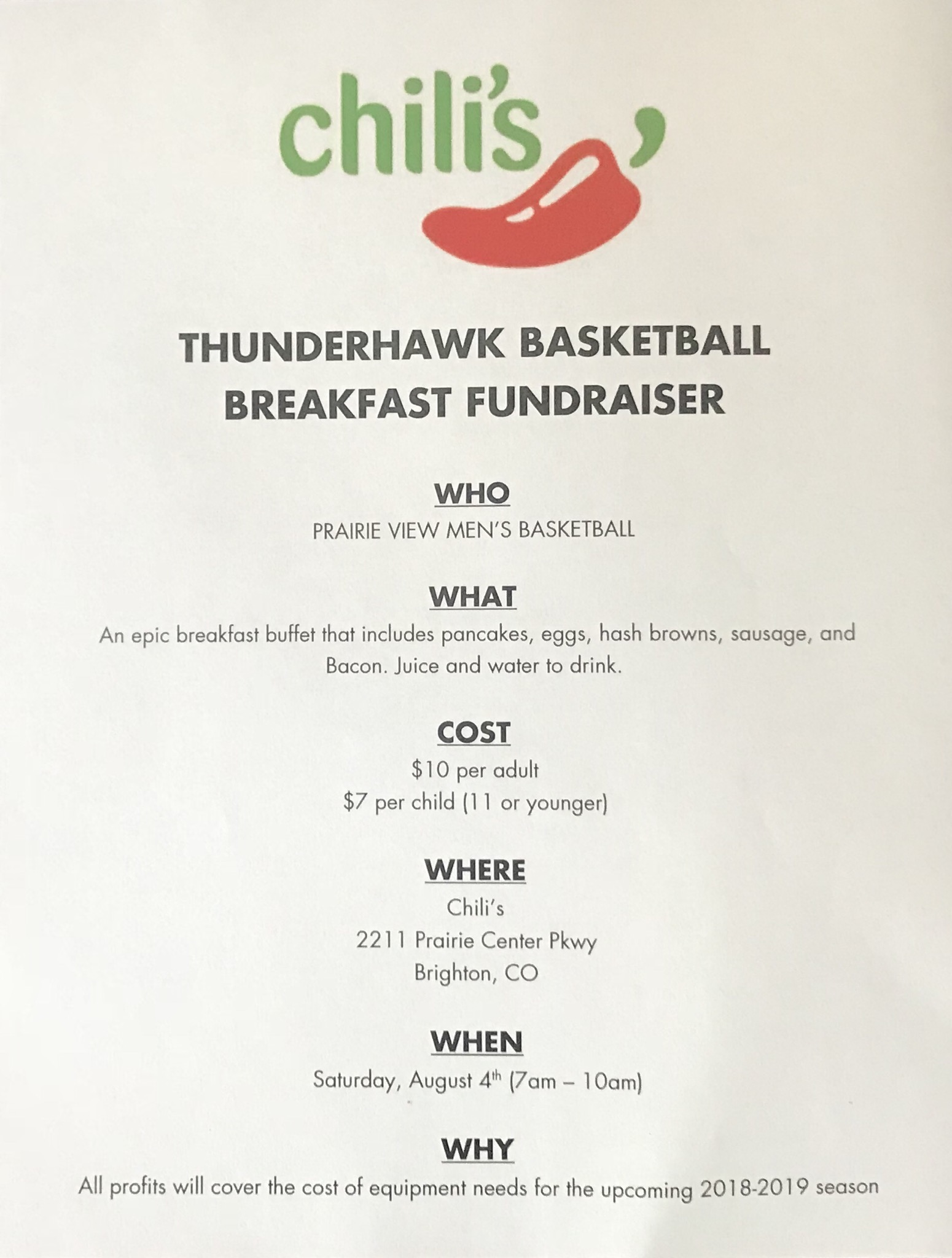 Chili's Breakfast Fundraiser – Saturday, August 4th
