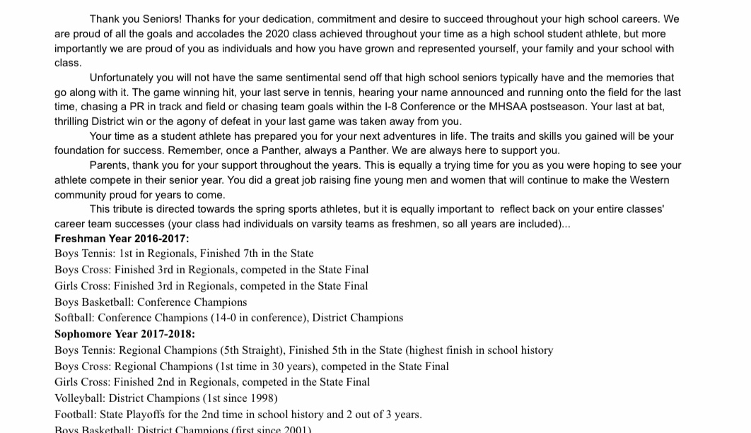 Thank You Letter to Senior Student Athletes