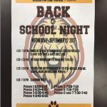 Back to School Night on Wednesday, 9/27.