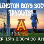 Arlington Boys' Soccer Try-outs after school this Friday, 9/15, 2:30 p.m. – 4:30 p.m.